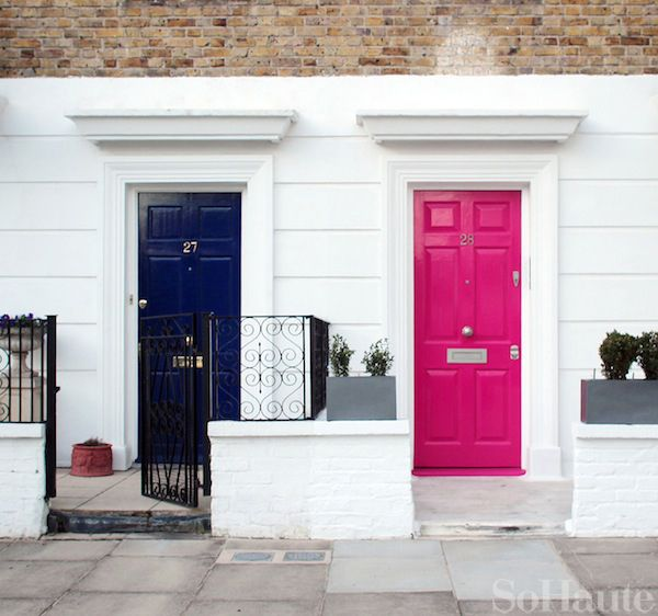 navy and pink doors, london