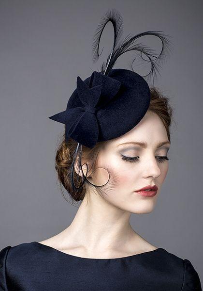 Rachel Trevor Morgan, A/W 2014. Navy fur felt pillbox with navy pheasant feather curls. #passion4hats