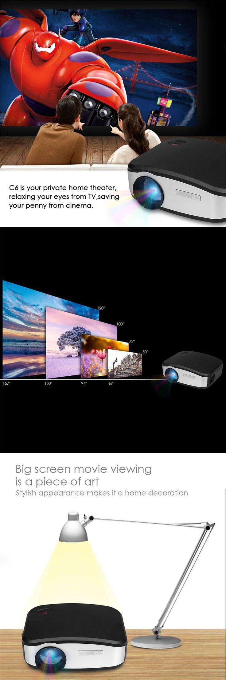CHEERLUX C6 Mini LCD Portable LED Projector 1080p HD 800x480 1200 Lumens  HDMI/USB/VGA/AV