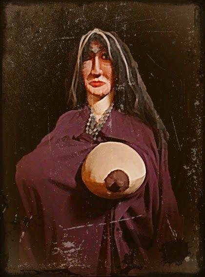 Tulevieja- fantasma femenino cubierto por una especie de sombrero llamado tule (con forma de plátano) y con los senos hinchados y erectos (chorreando leche, según la versión) que le llegan casi a la cintura,va errante por los caminos y despoblados.
