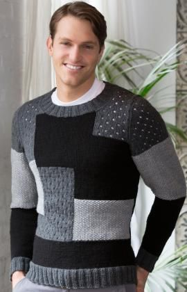 Patchwork Sweater Free Knitting Pattern from Red Heart Yarns