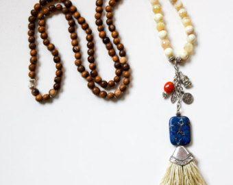 Black Beaded Tassel Necklace Long Beaded by lizaslittlethings