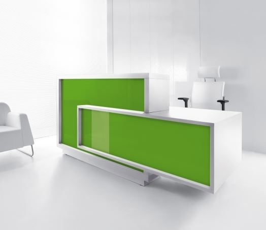 The Foro. The unique, cubist shape of the reception desk makes the character of the room very expressive. Foro comes in a choice of colours and is available in a left or right handed versions.