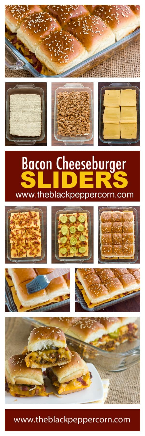 Bacon Cheeseburger Sliders Recipe - Make mini bacon cheeseburger sliders at home with 12 pack dinner rolls (ex: King's Hawaiian) and using ground beef, bacon, cheddar cheese, ketchup and mustard. via @blackpeppercorn