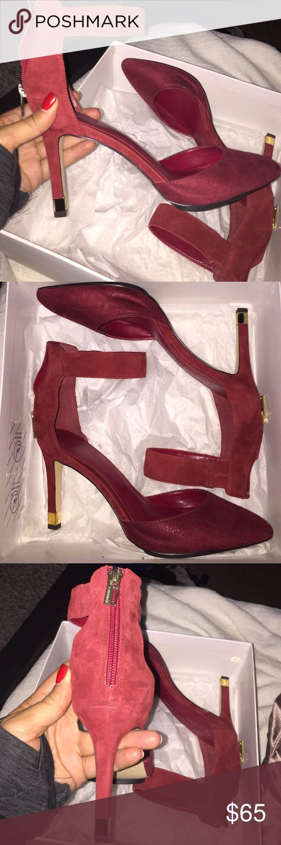 Red Calvin Klein Heels Brand new, never worn, Calvin Klein pumps with gold details Calvin Klein Shoes Heels