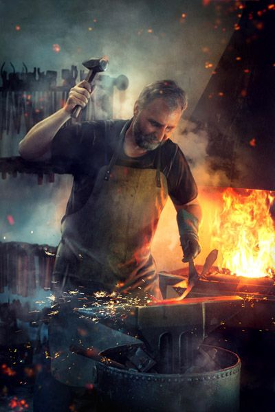 blacksmith metal work, fire, fairy light