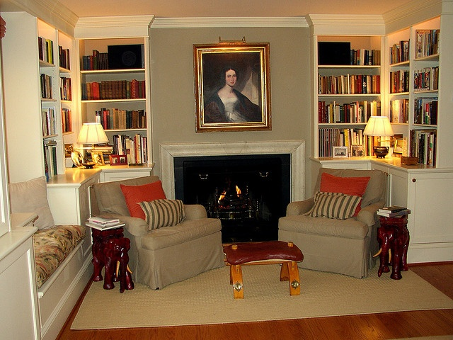 Library fireplace by bronwynsmom, via Flickr