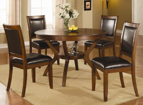 5pc Casual Dining Table And Chairs Set In Brown Walnut Finish Coaster Home Furnishings