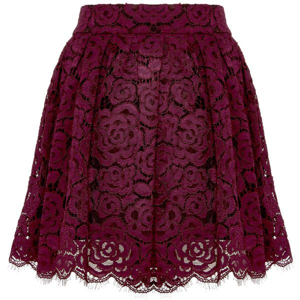 Alice + Olivia Paulette Drop Shoulder Sweatshirt found on Polyvore featuring skirts, bottoms, saias, lace mini skirt, lace skirt, lacy skirt, alice olivia skirt and knee length lace skirt