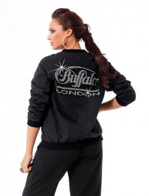 Lable blouson jacket with strass, black
