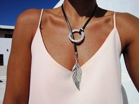 collar de la eternidad, Y collares, collar lariat, collares largos, collares de plata, joyería de la manera, collar anillo, anillo de plata, anillos de etsy