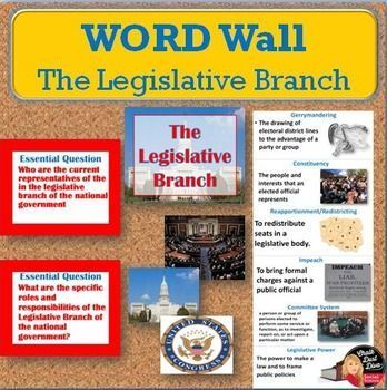 The Legislative Branch Vocabulary Word Wall Posters (Civics)  FREE! This product includes 10 essential vocabulary posters related to the Legislative Branch. Two unit essential questions are included. These posters were designed for your secondary civics classroom.  FREE!