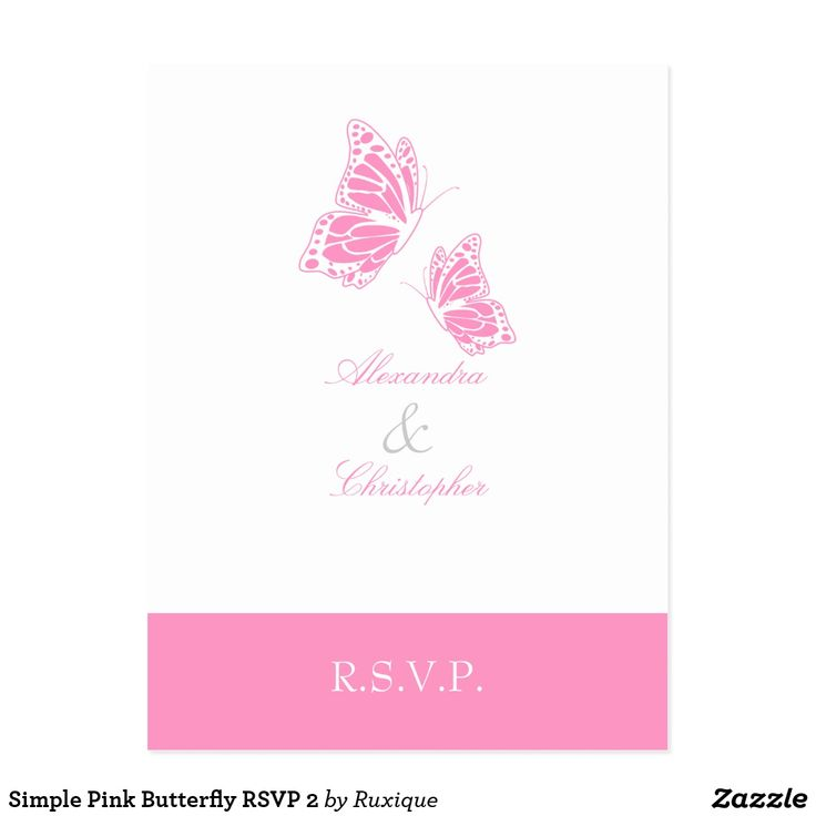 Simple Pink Butterfly RSVP 2 Postcard