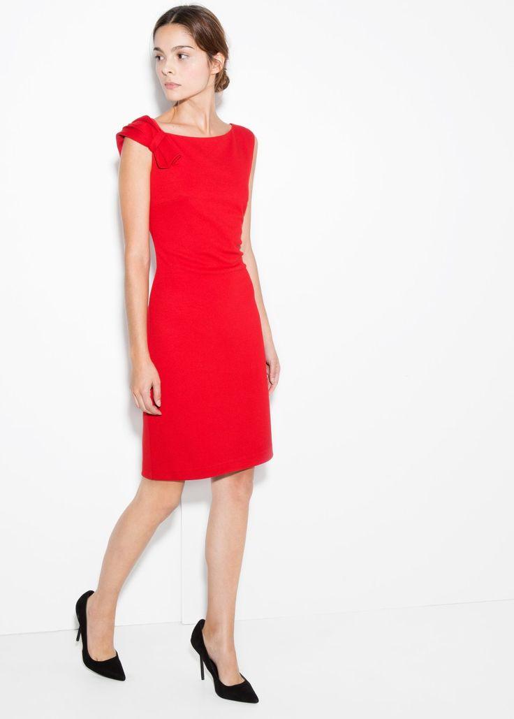 Pleated shoulder dress