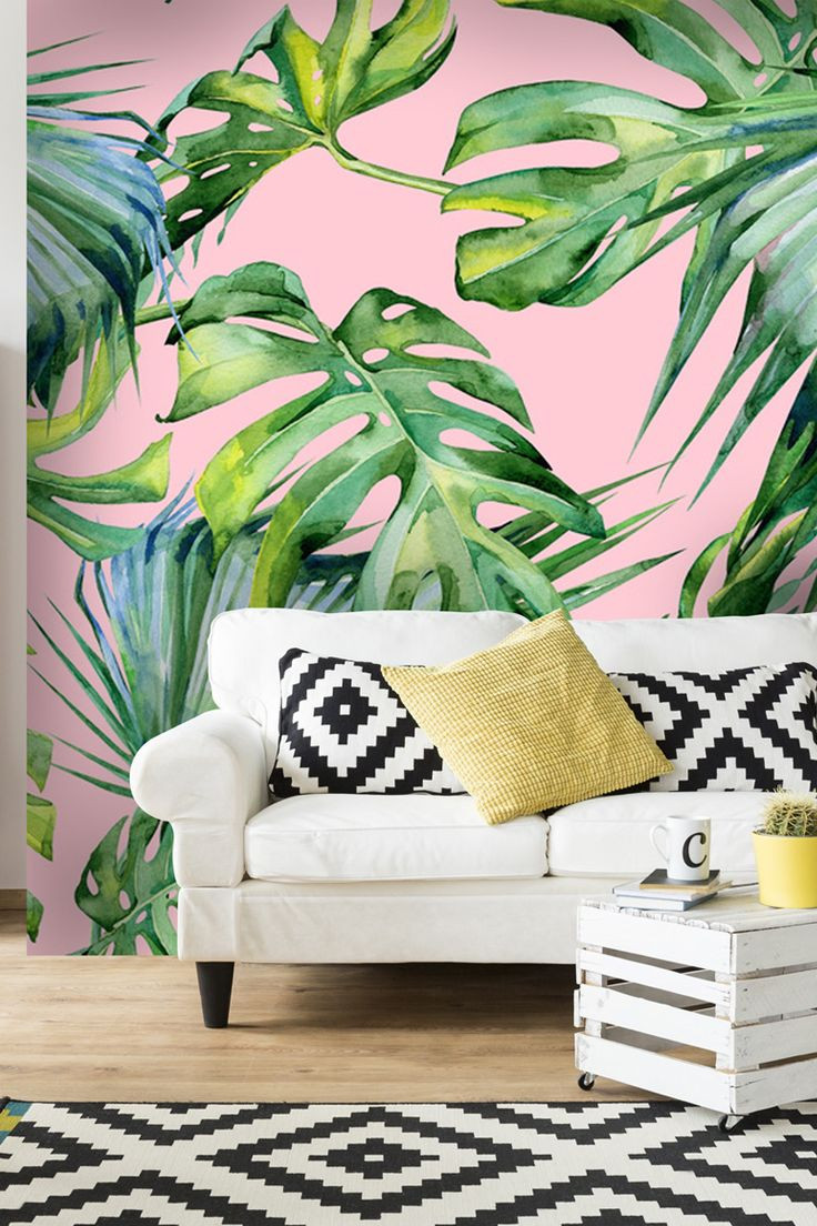 This pink palm tree mural wallpaper from wallsauce.com will infuse your home with 2018's biggest trends. View more at wallsauce.com. Murals are custom printed to fit your wall dimensions.