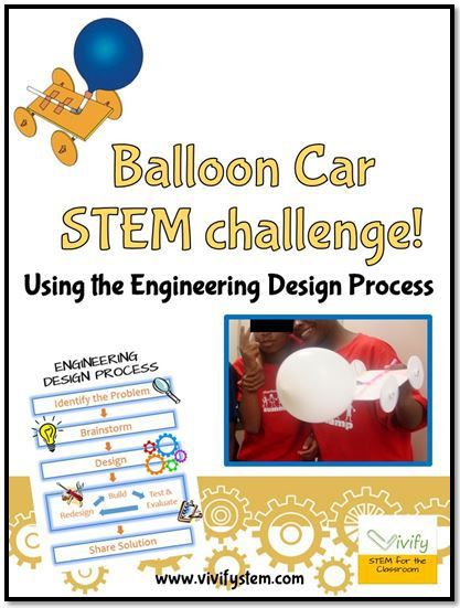 FREE STEM Challenge from Vivify STEM! Design a Balloon Car…math connections and engineering design process poster included.