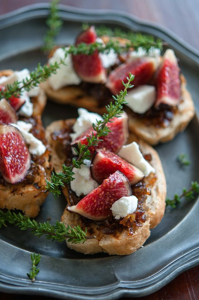 Fig, goat cheese and caramelized onion bruschetta.