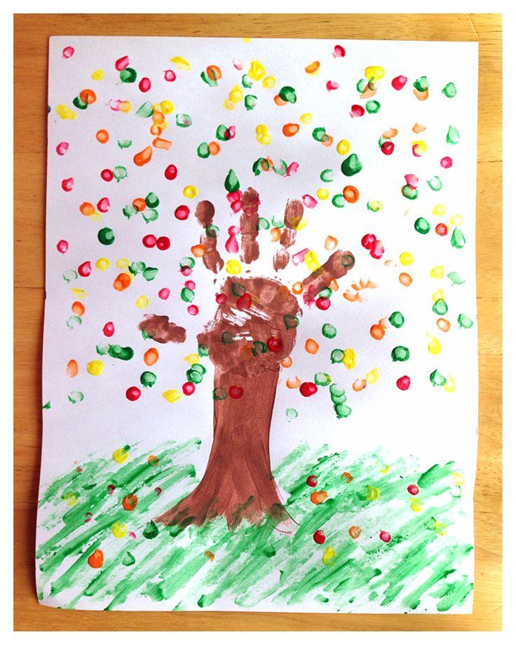 Toddler craft fall tree hand print
