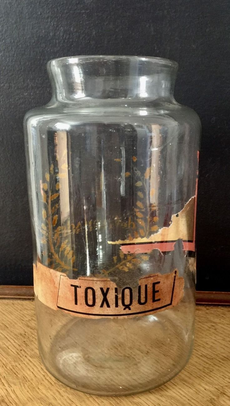Antique APOTHECARY Pharmacy DRUG Jar French Gold Gilt Toxic Vintage Medical Hand