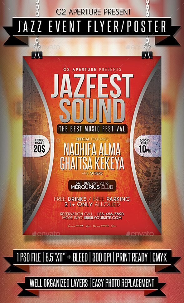 jazz event flyer poster template psd download flyer templates