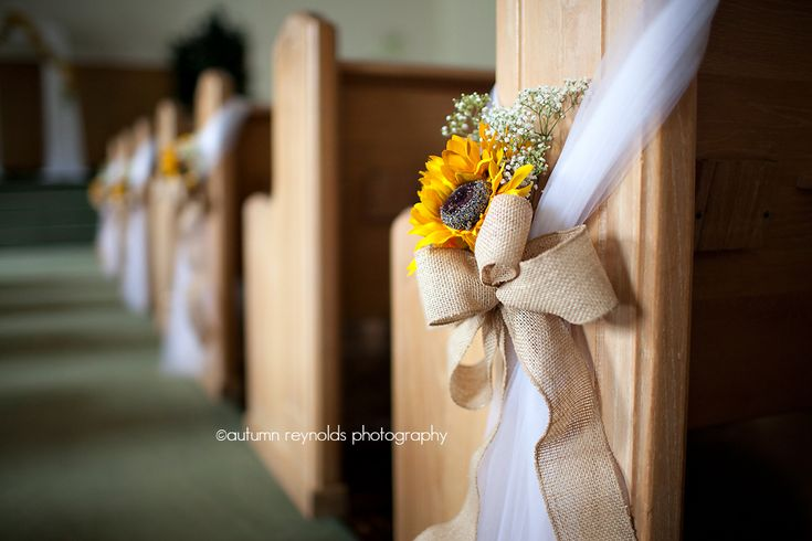 sunflower, tulle, burlap pew bow