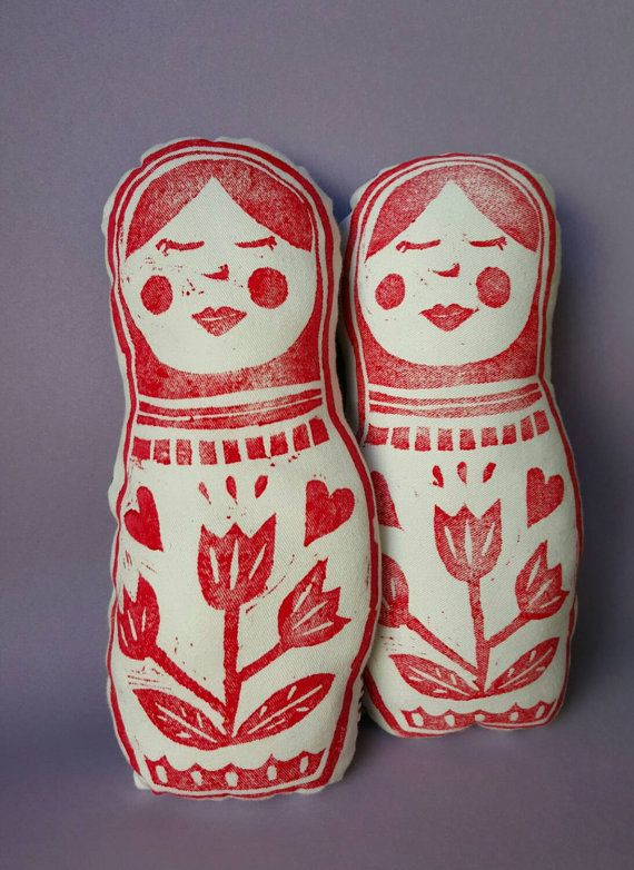 BABUSHKA / Matryoshka  Softie / Block Printed Toy / by HushRumble