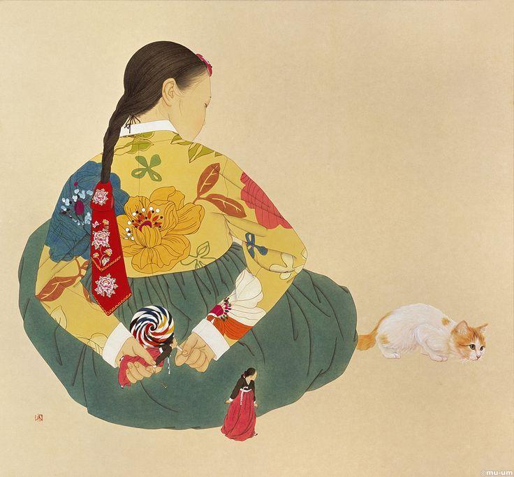 Изящные работы на бумаге художника Shin Sun Mi из Южной Кореи. Эти женщины, одетые в традиционные костюмы, априори очень классические и находятся вне времени, поскольку картины содержат много современных деталей. http://tanjand.livejournal.com/1665812.html
