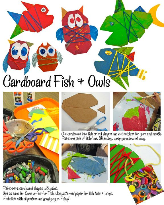 Picasso-Fish-and-Owl out of cardboard