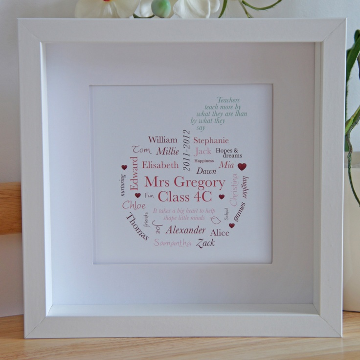 Personalised bespoke Teachers Thank You framed artwork