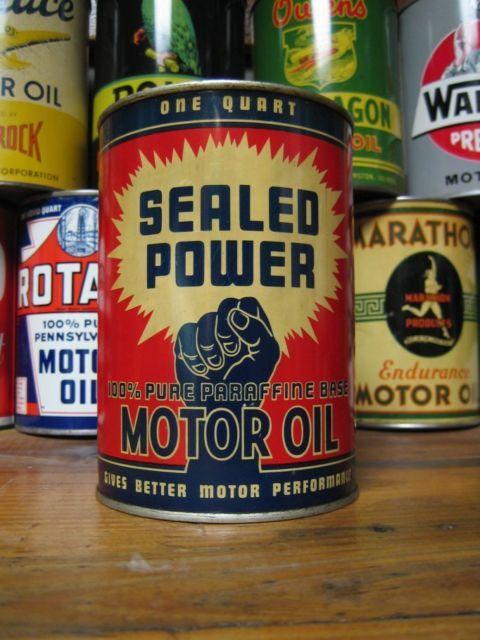 Vintage Original MINT Sealed Power Motor Oil Can Graphic Metal Quart CLEAN Qt | eBay