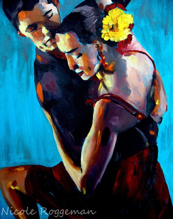 Salsa dancers intimate couple seductive dance art by Nicclectic