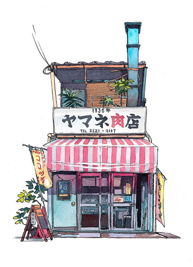 A series of watercolor illustrations of Tokyo storefronts by artist Mateusz Urbanowicz.