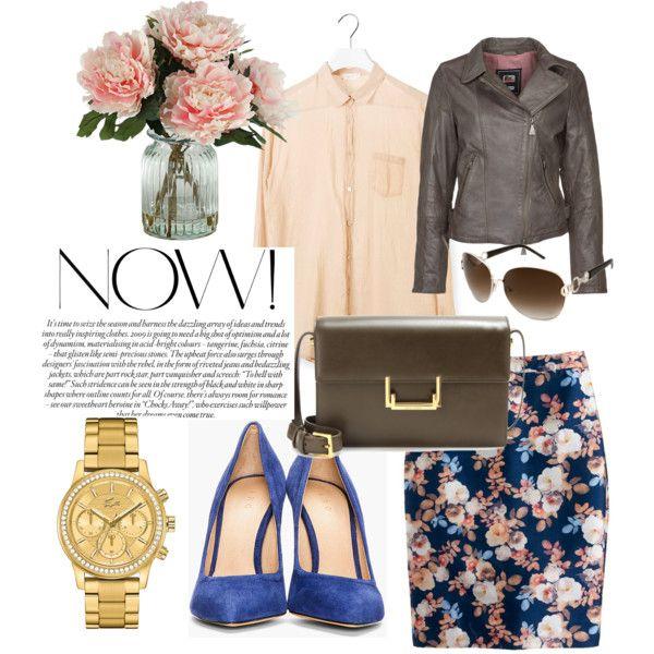 brown leather jacket, floral print, floral pencil skirt, gold