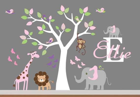 Baby Room Wall Decor Nursery Jungle Wall Decal- Tree,Monkey,Elephant,Giraffe Wall Decals