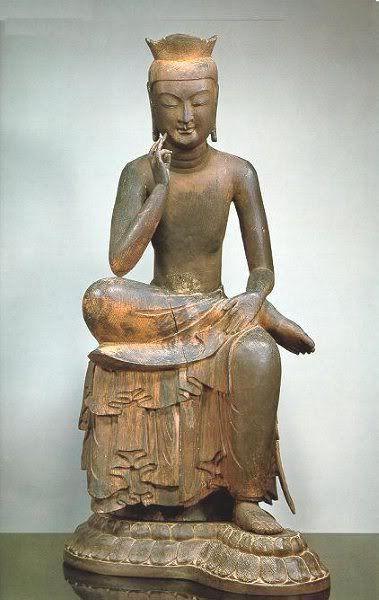 Bodhisattva in Pensive Pose, probably Maitreya, Korea or Japan, 7th century. Wood (red pine); H. 48 1/2 in. (163.2 cm). Kōryū-ji Temple, Kyoto