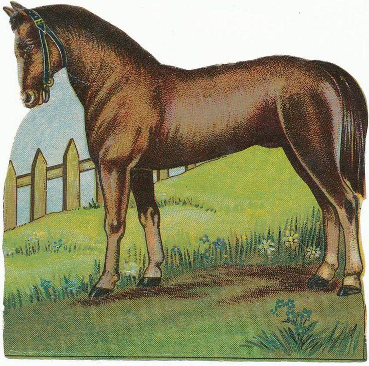 alte Oblate Glanzbild vermutl. 50er Jahre Pferd