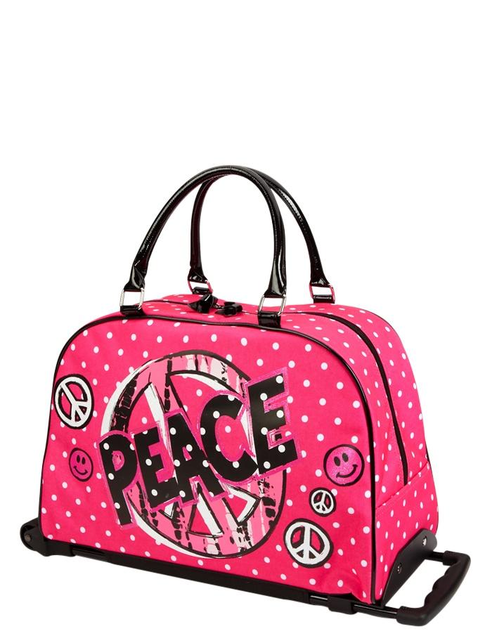 Emma Travel Luggage Pink Peace Polka Dot Roller Duffle