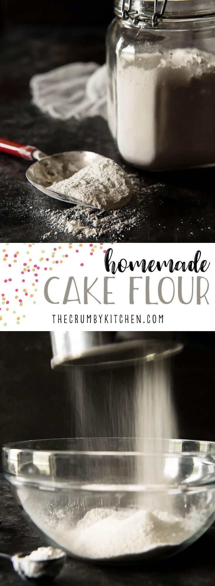In need of cake flour, but don't have time to run to the store? Here's how to make a homemade cake flour substitute from two pantry staples. #homemade #DIY #cakeflour #recipe #baking