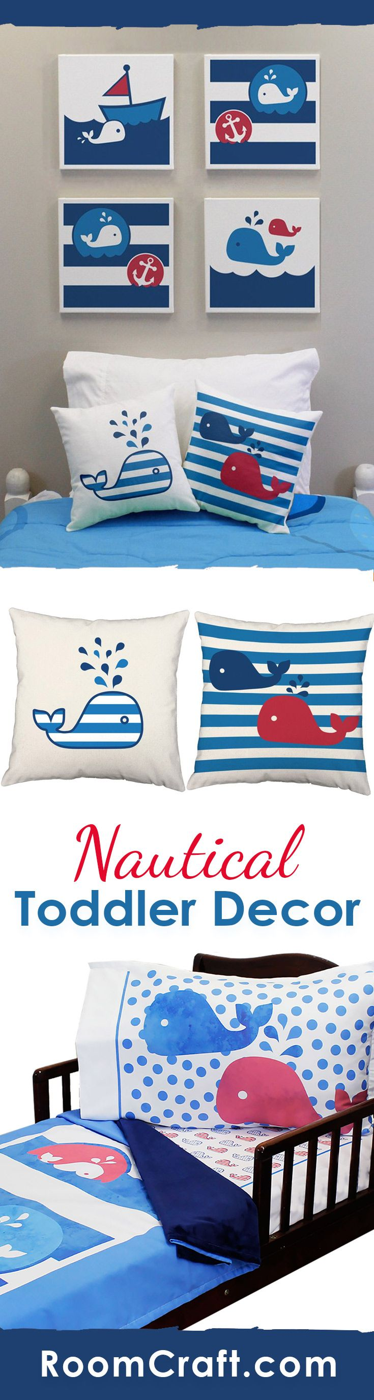 Whale, whale, whale... What do we have here? This adorable nautical design is available on throw pillows, canvas wall art, and toddler bedding. They are perfect for a complete room make over or choose one or two to add the finishing touches to your little one's whale themed bedroom. Make decorating fun and easy with these cute home decor products. #roomcraft