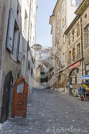 Old street Rue Chausse - Coq in Geneva, Switzerland. Europe.