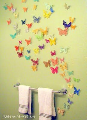 Affordable 3D butterfly stickons with great detail from esty.  Could go anywhere....wall, desk, etc.