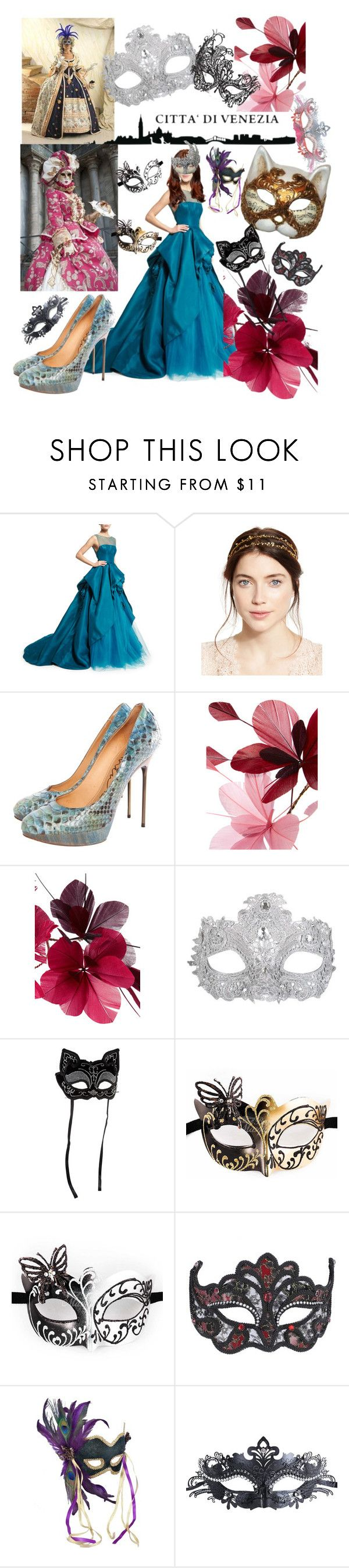 """""""Venice Carnival"""" by csidlo17 ❤ liked on Polyvore featuring Monique Lhuillier, Jennifer Behr, Masquerade, Lanvin, Valentino, Jacobson Hat Company and Buy Seasons"""