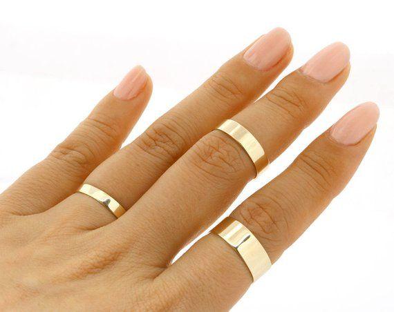 Wedding Bandgold Flat Ring 14k Solid Gold Rings Wedding Ring Etsy Gold Rings Solid Gold Rings Etsy Wedding Rings
