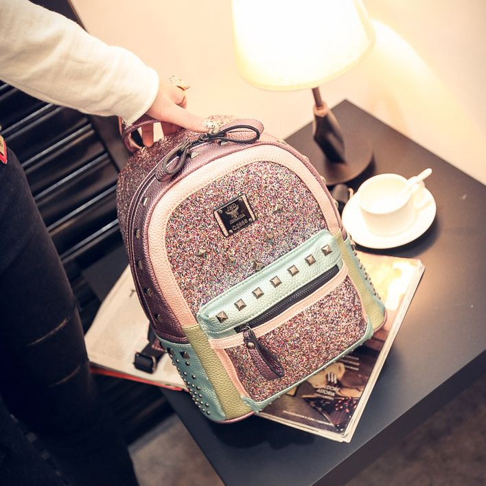 Cheap bag advertising, Buy Quality bag hand bag directly from China bag pendant Suppliers: New fashion rivet spell color diamond sequined pu bags mini backpack travel bag