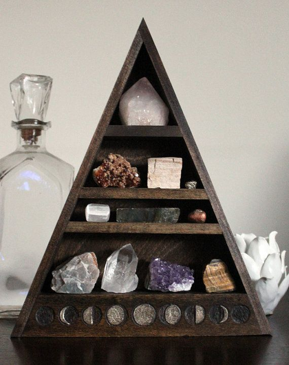 Moon Phase Large Crystal and Mineral collection in handmade wood shelf