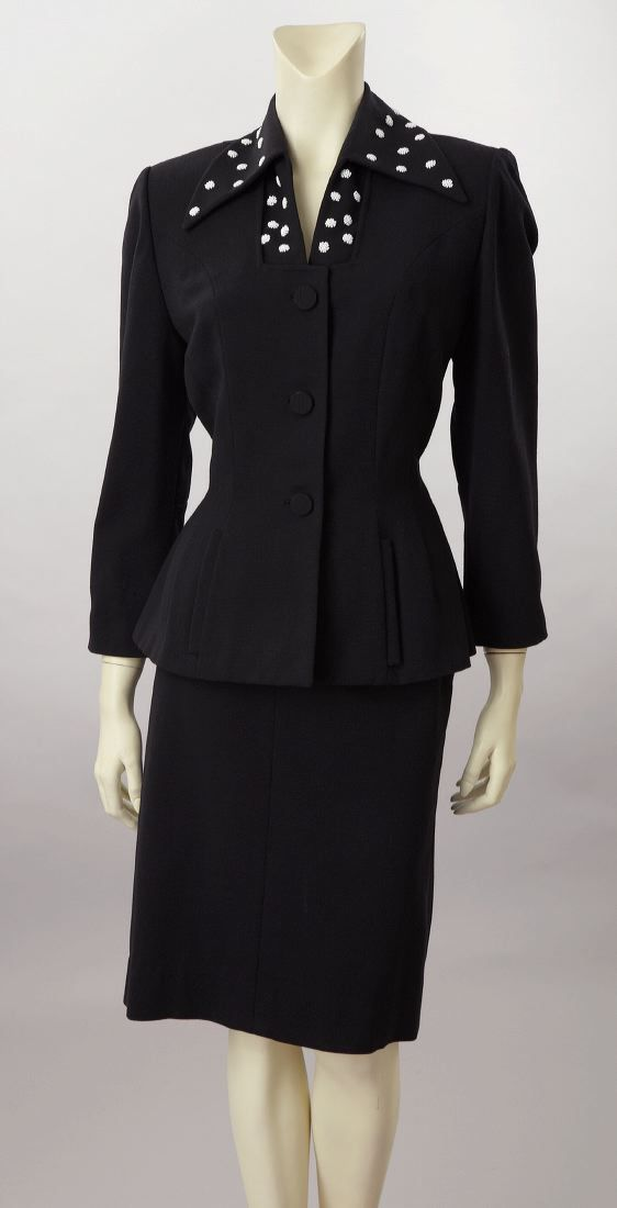1940 | Black Wool Peplum Suit with White Beads by Lilli Ann