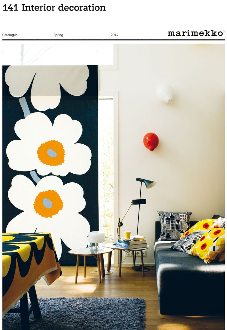 Marimekko front of their catalogue spring 2014 showing Unikko and cushions bringing you in a uplifting mood
