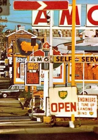 Row of petrol stations along Swan Street, between Mary Street and Brighton Street, Richmond.