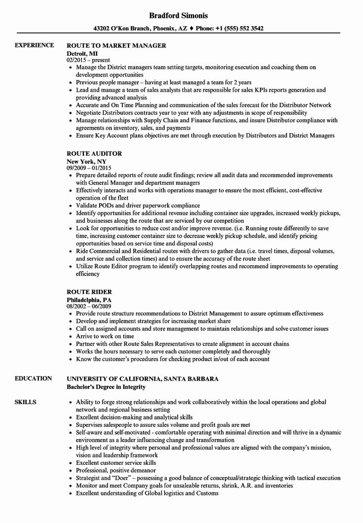 Delivery Driver Job Description Resume New Route Resume