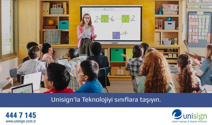 Unisign, Eğitim sektörü için özel olarak geliştirdiği çözümleri sunuyor. Akıllı tahtalarla teknolojiyi sınıflara taşıyın.